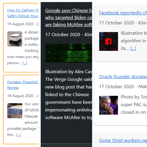 Multiple color themes to display RSS feed