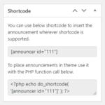 Announcer PRO shortcode metabox