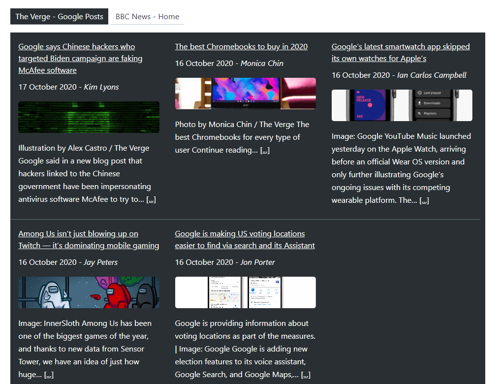 Super RSS reader PRO - Grid display of feed items