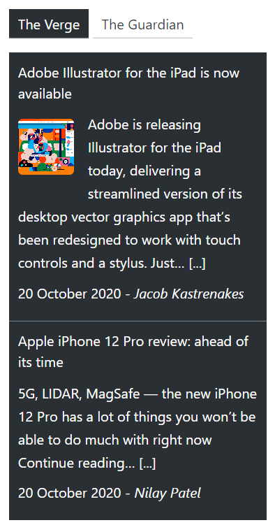 Super RSS reader PRO - Twitter dark color theme