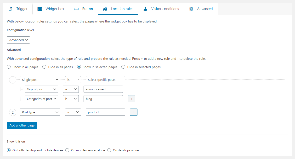 Location rule settings in Ultimate floating widgets PRO WordPress plugin